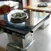 【鑫韵峰】DLS-1042无烟火锅桌厂家 不锈钢火锅桌 大理石火锅桌  ** 品质保证